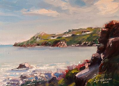 Original Oil Painting, Balscadden Howth afternoon on Rocks. Irish Art
