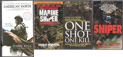 4 True Novels about Snipers -American Sniper /One Shot, One Kill / Marine Sniper