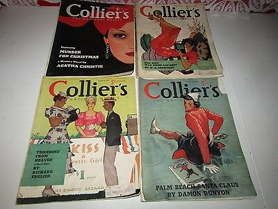 Vintage 1938 & 1939 Collier's National Weekly Magazines Lot of 4 - Great Ads