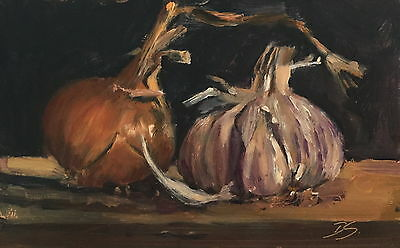 Onion and Garlic Still Life Oil Painting by Deborah Sweeney (British, 1956-)