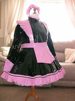Gorgeous Black PVC Adult Sissy Maids Dress with Pink apron size xxl