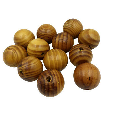 12pcs 30mm Round Spacer Beads Loose Wood Stripe Beads for Beading Crafts