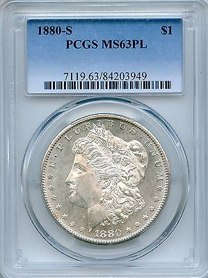 1880-S Morgan Silver Dollar PCGS MS63PL ~ Prooflike $1 (84203949)