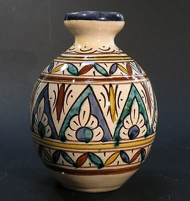 Lan23 Middle Eastern Morocco Handpainted Pottery Vase