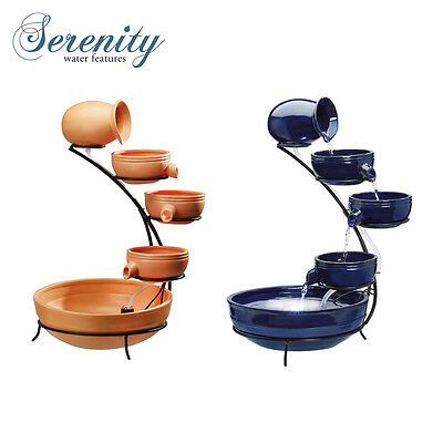 Serenity Solar Powered Weatherproof Cascading Water Feature with LED Light