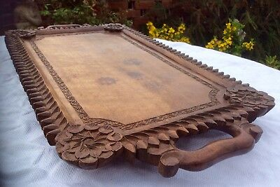 "Fine 22"" Antique KASHMIR Anglo-Indian Hand-Carved Hard Wood Serving Tray"