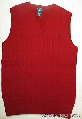 Polo Ralph Lauren Boys Sz Large 14 16 Red Holiday Cable Knit Sweater Vest
