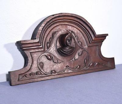 "*24"" French Antique Pediment/Crest in Oak Wood with a Man's Head"