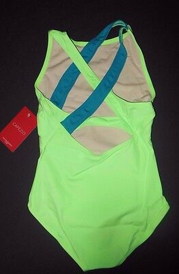 NWT CAPEZIO GIRLS DANCE LEOTARD  TANK Tb223C Hotmint/Turq gym leotard M-XLchild