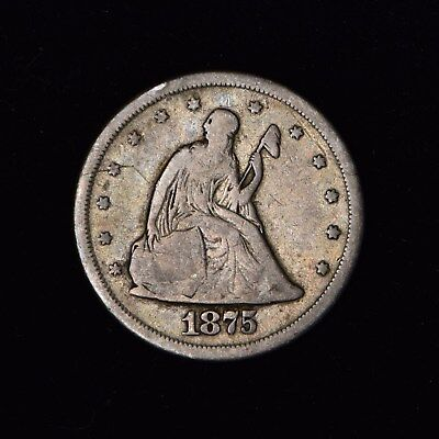 1875-S 20C Seated Liberty Silver Twenty Cent Piece Us Type Coin