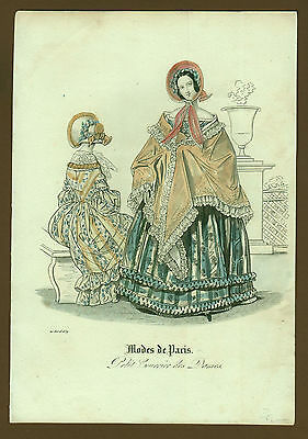 Mode Damenmode Ladies ' Fashion No 3 , franz. Kupferstich datiert 1839