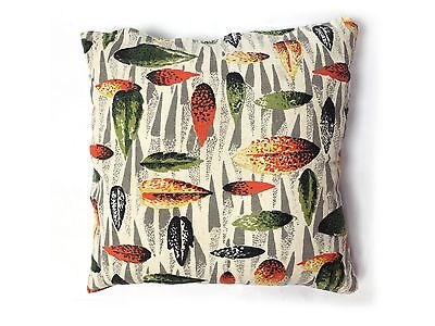 Vintage 1950s Fabric Leaf Pattern Cushion cover Mid Century Modern Textiles