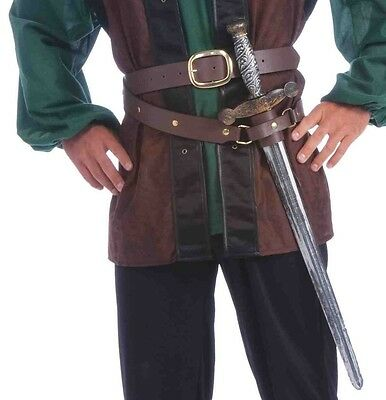 Mens Renaissance Medieval Double Wrap Belt with Scabbard Adult One Size