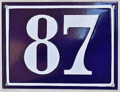Large old French house number 87 door gate plate plaque enamel steel metal sign