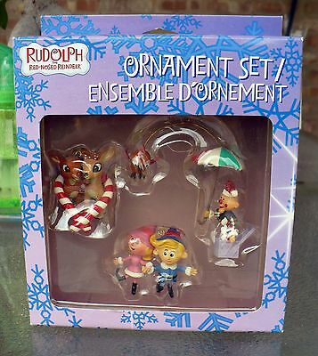 Rudolph The Red Nosed Reindeer Ornament Set Hermie Charlie,rudolph & Clarice Nip