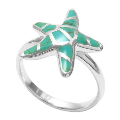 925 Sterling Silver Lovely Turquoise Starfish Ring Size 5-9