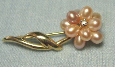 14K Gold Flower Pin w Diamond & Real Pink Pearl  2.4  grams total   1 1/4""