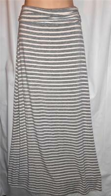 J. Crew Long Heather Grey Cream Striped Jersey Knit Maxi Skirt Size S