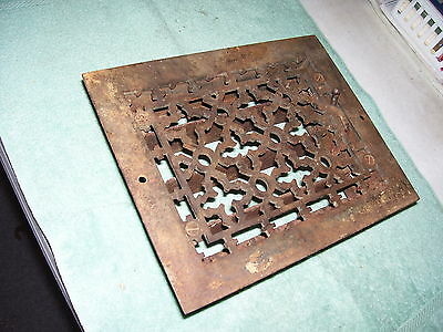 Vintage Antique Art Deco Cast Iron Louvered Heat Floor Grate, Steampunk 8 by 10""
