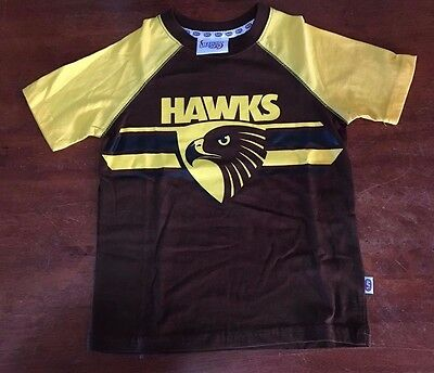 Afl Hawthorn Hawks Official Kids T Shirt Brand New Various Sizes