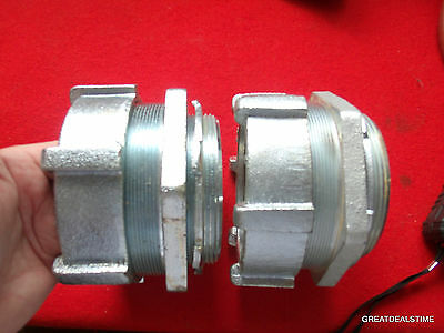 """Lot Of 2 - New 4"""" Conduit Compression Connector Fitting/ 4In"""