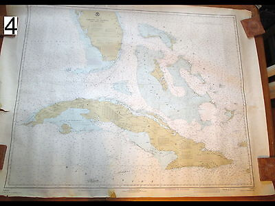 Vintage 1979 Nautical Chart Maritime Map Straights of Florida Loran A&C 2 Sides