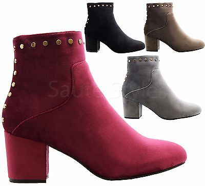 2f861073bb2 Ladies Womens Mid High Block Heels Casual Studded Chelsea Ankle Boots Shoes  Size