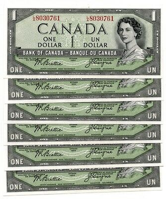 1934 $1 Canada Currency GEMCU Lot of 6 Consecutively Numbered Notes