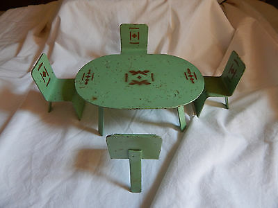 Metal Craft Art Deco Table & 4 Eames Style Chairs - 5 Pieces