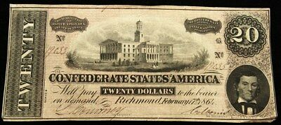 1864 Confederate States $20 Note T-67 CSA Civil War Currency Serial # 19033