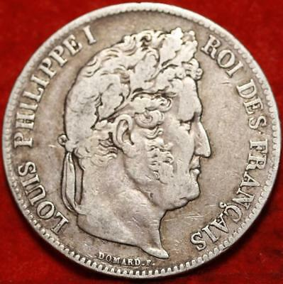1839 France 5 Francs Silver Foreign Coin Free S/H