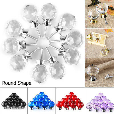 4/10 Pcs Crystal Glass Cabinet Knob Round Shape 30mm Drawer Cupboard Handle Pull