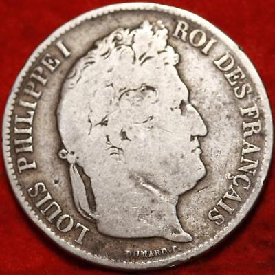 1842 France 5 Francs Silver Foreign Coin Free S/H