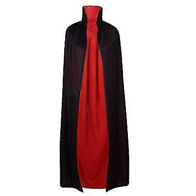 "55"" Stand Collar Reversible Cloak Masquerade Cape Costume, Black and Red New"