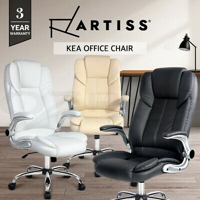 New Executive Premium Office Chair Faux Leather Retractable Armrests 3 Colours
