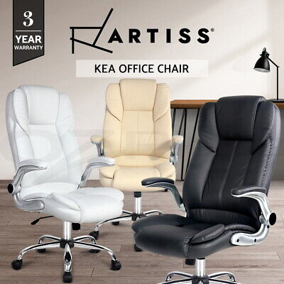 New Executive Premium Office Chairs Faux Leather Retractable Armrests 3 Colours