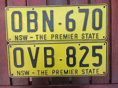 """RELISTED - 2 x  NSW number plates OBN- 670 & OVB- 825 """" both Premier State"""""""
