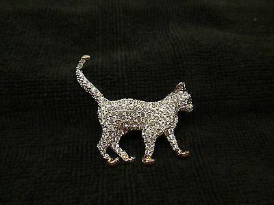 Rhinestone Cat Pin with Green Eyes.