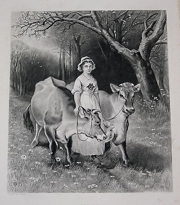 ANTIQUE 1893 EDWIN DOUGLAS ETCHED PLATE PRINT JERSEY COW & MILK MAID 11x16 PRINT