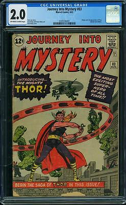 Journey into Mystery #83 CGC 2.0. Origin & 1st App Thor. Lee & Kirby 1962.
