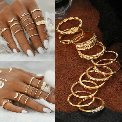 12Pcs/Set Vintage Gold Crystal Midi Finger Knuckle Rings Fashion Women Jewelry