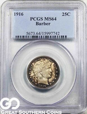 1916 PCGS Barber Quarter PCGS MS 64 ** Final Year Issue, Free Shipping!