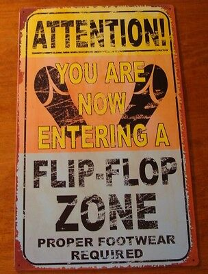 Rustic Tropical Orange FLIP FLOP ZONE Beach Sign Nautical Home Pool Decor NEW