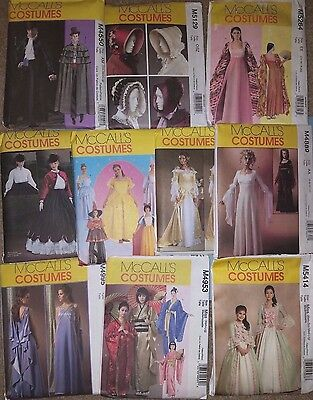 McCALL'S COSTUME PATTERNS FOR ADULTS  ~ GEISHA, DISNEY PRINCESSES++, MANY OOP