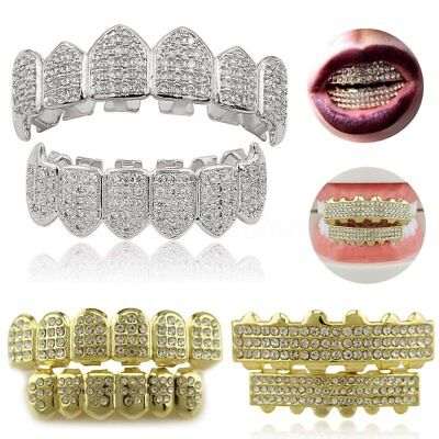 Gold Silver Plated Top & Bottom Set Grillz w/ Diamond Hip Hop Teeth Mouth Grills