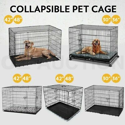 "Collapsible 30"" 36"" 42"" 48"" Dog Pet Cage Kennel Cat Metal Crate Tray 2 Doors"