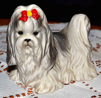 Lovely Vintage Numbered Blue & White Parti-Colored Shih Tzu Show Dog Figurine
