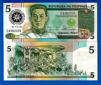 Philippines P-175b 5 Piso Year 1986  Uncirculated Banknote FREE SHIPPING