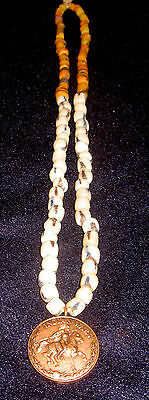1866 - 1897 Indian Wars Medal Badge on a Glass Trade Bead Necklace