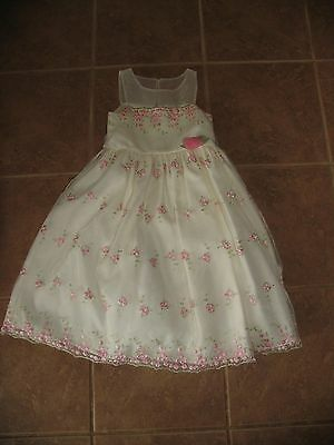 GIRLS SIZE 5 PINK Party Spring Summer Dress Flower Birthday Clothes